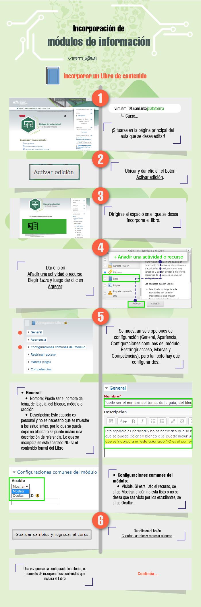 Infografía Moodle. Incorporar recurso de Libro, contenedor