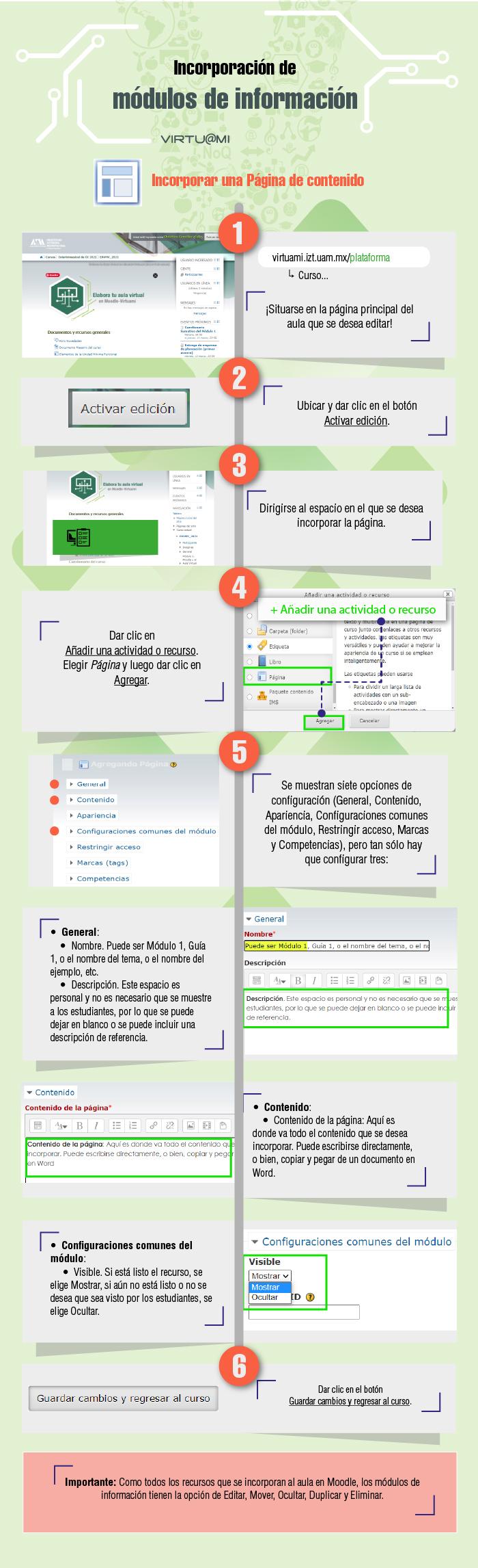 Infografía Moodle. Incorporar recurso de Página